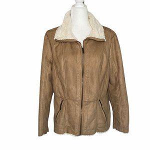 CB Established since 1962 Tan Sherpa Zip Up Coat SZ XL